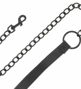 DARKNESS FULL BLACK COLLAR WITH LEASH